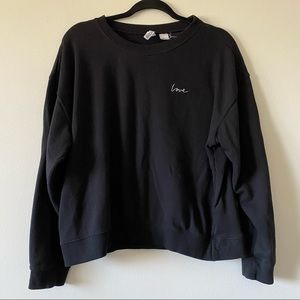 H&M Divided Black Crewneck Embroidered Love Sweater XL